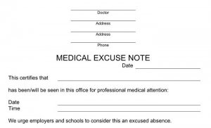 fake doctors note for school